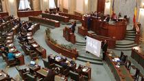 Protest USR cu proiectii in plenul Senatului