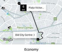 Captura din aplicatia Uber