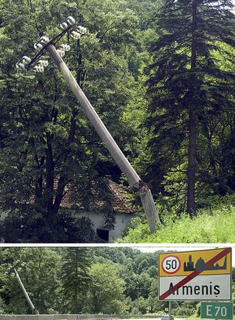 Stalp de suport cabluri de electricitate