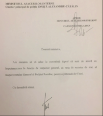 Acordul chestorului Ionita pentru imputernicirea in functia de sef al Politiei Romane