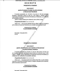 Decrete publicate in Monitorul Oficial