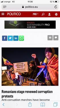 Protestele de sambata din Romania, in Politico.eu
