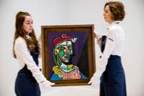 Tabloul Mujer con boina y vestido de cuadros - Pablo Picasso