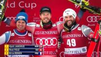 Kjetil Jansrud (centru) a castigat slalomul super-urias de la Kvitfjell