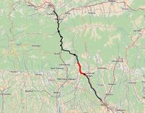 Sectiunea 4 (cu rosu) din autostrada Pitesti - Sibiu
