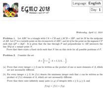 Fragment din Subiectele de la Olimpiada Europeana de Matematica pentru Fete 2018