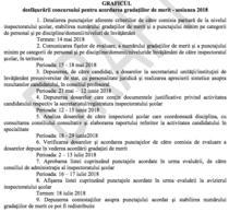 Fragment din calendarul concursului pentru gradatia de merit 2018