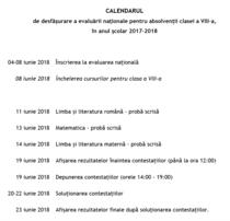 Calendar Evaluarea Nationala 2018