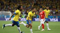 Bucuria jucatorilor brazilieni dupa golul lui Coutinho
