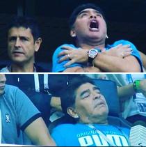Maradona, in timpul meciului Argentina vs Nigeria