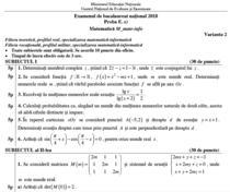 Fragment din subiectele la Matematica de la BAC 2018