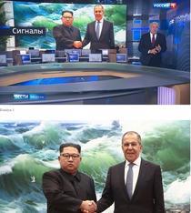 Fotografia cu Lavrov si Jong Un editata alaturi de orginala