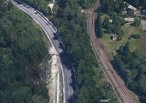 DN1 si calea ferata, la iesirea din Predeal