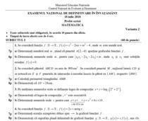 Fragment din Subiectele la Matematica de la definitivat