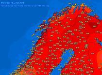 Maximele in nordul Scandinaviei pe 18 iulie