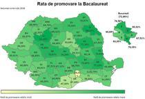 Harta Rata de promovare la BAC pe judete