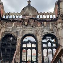Palatul Episcopal din Oradea dupa incendiu - imagine din interior