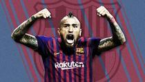 Arturo Vidal, in tricoul Barcelonei