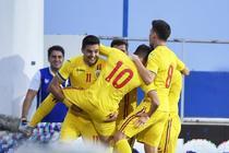 Tricolorii juniori celebrand victoria impotriva Bosniei
