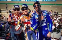 Marc Marquez, Andrea Iannone si Andrea Dovizioso, podiumul GP Aragon