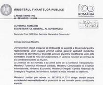 Fragment din scrisoarea ministrului finantelor catre SGG