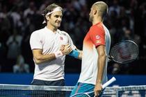 Marius Copil si Roger Federer, dupa meciul de la Basel