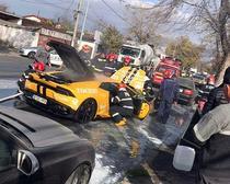 Lamborghini cuprins de flacari pe soseaua Andronache