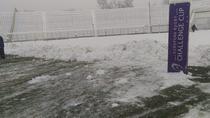 Stadionul Dan Păltinişanu din Timişoara, acoperit de zapada