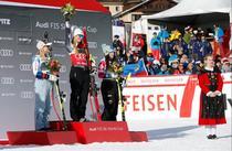 Podiumul de la St.Moritz (Mikhaela Shiffrin pe cea mai inalta treapta)