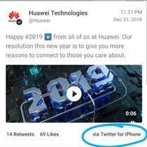 Mesajul postat de Huawei pe 31 decembrie