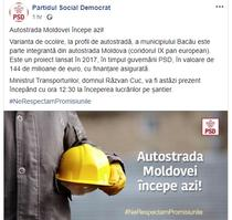 PSD anunta triumfal ca Autostrada Moldovei incepe azi