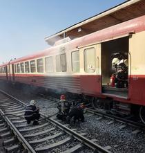 Tren care a luat foc la Timisoara