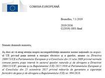 Scrisoarea CE catre Ministerul de Externe