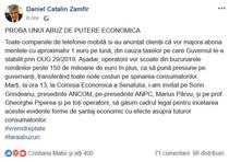 Daniel Zamfir pe Facebook