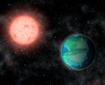 Imagine artistică a unui Pământ tânăr în jurul unei stele roșii