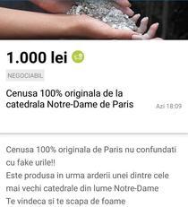 Anunt pe OLX despre cenusa Notre-Dame