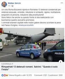 Salvini, despre detinutii romani