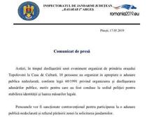 Comunicat jandarmerie