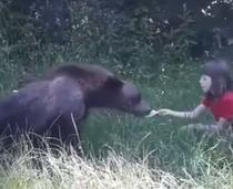Urs hrănit de copil