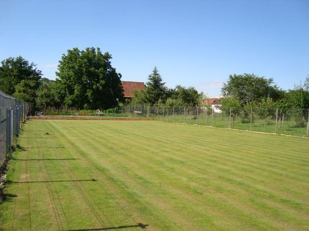 Teren de tenis pe iarba in fundul gradinii