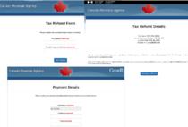 Exemplu de pagină de phishing sub forma unui formular CRA de restituire de fonduri infectate cu malware