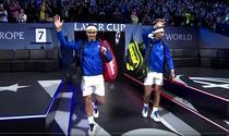 Federer si Nadal in momentul cand au facut pereche la Laver Cup
