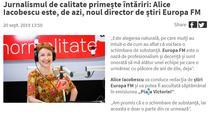 Anunțul Europa FM referitor la Alice Iacobescu