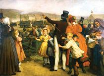 Pictura cu deschiderea liniei Bruxelles Mechelen in 1835 (Jan Antoon Neuhuys)