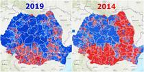 Alegerile prezidentiale pe localitati - 2019 vs 2014