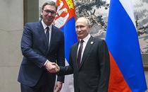 Presedintele Serbiei, Aleksandar Vucic, alaturi de Vladimir Putin
