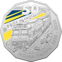 Moneda aniversara cu trenul Indian Pacific