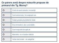 Sondaj - propunerile primarului din Tg. Mures