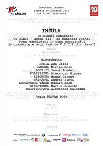 Spectacol - lectura: Insula, de Mihail Sebastian