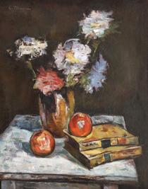 Natură statică cu mere, cărți și vas cu crizanteme - Gheorghe Petrașcu